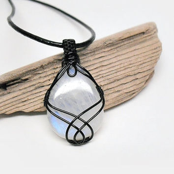 OOAK Moonstone necklace, wire wrapped moonstone, black coated copper wire wrap, black leather necklace, unique necklace for women