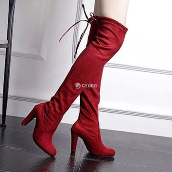Women Casual Lace Up Solid High Heel Stretch Slim Over Knee Boots DZ88