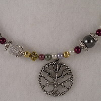 NKCK005 Choker Necklace made of Crystal, Glass Pearls, Sterling Silver and Gold Plated Beads with Tree of Life Pendant