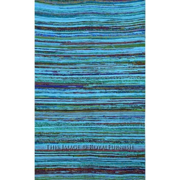 "3.6"" X 6.5"" ft. Turquoise Recycled Fabric Cotton Chindi Rug Rug on RoyalFurnish.com"