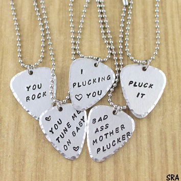 Personalized Silver Guitar Pick Necklace (Unisex) You Rock, You Tune Me On, Plucking Love You, Playas Gonna Play, Pluck It, I Pick You ETC.