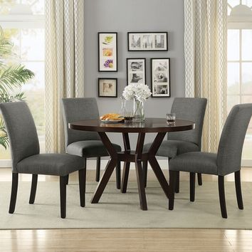 "Acme 16250-59750 5 pc drake espresso finish wood 48"" round dining table set"