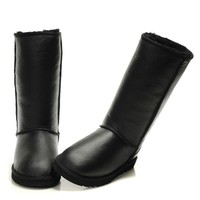 UGG Fashion Plush leather boots boots in tube Boots black