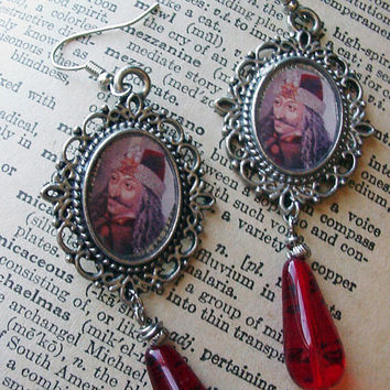 Gothic earrings with Vlad Tepes and blood drops Vampire jewelry the Impaler