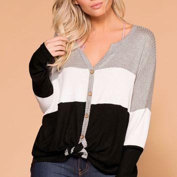 Light Breeze Grey, Ivory and Black Color Block Waffle Knit Top