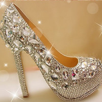 Sparkly Bridal shoes  Bling heels shoes by blingphonecase01