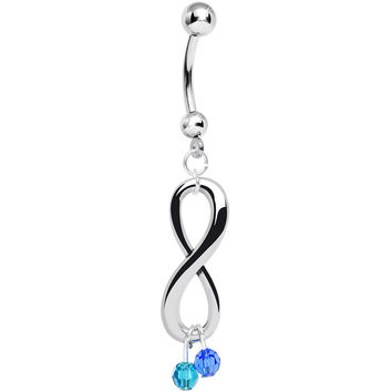 Custom Couples Infinity Birthstone Belly Ring Created with Swarovski Crystals