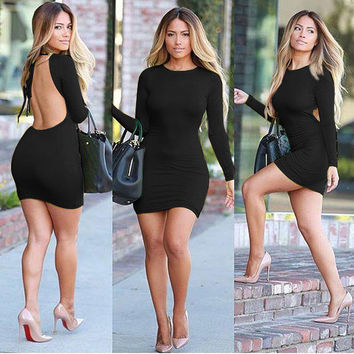 Sexy Long Sleeve Scoop Backless Bodycon Short Dress