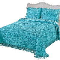 King Size Turquoise Chenille Bedspread in 100-Percent Cotton with Fringed Edges