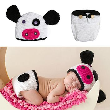 Newborn Photo Props Baby Crochet Knit Cow Design Costume Infant Hat Pants Outfits Infant Photography Props Baby Clothes