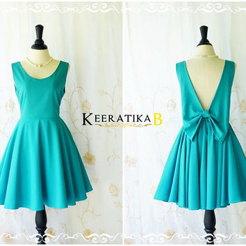 A Party Angel Dress Peacock Blue Party Dress Backless Prom Dress Bow Back Cocktail Dress Peacock Blue Wedding Bridesmaid Dresses XS-XL