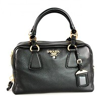 Prada Women's B3091M Black Leather Shoulder Bag