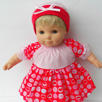 "American Girl Bitty Baby Clothes 15"" Doll Clothes Girl Red, Pink, White Heart Print peasant dress and Cap (hat) 2 pc Valentine's Day Outfit"