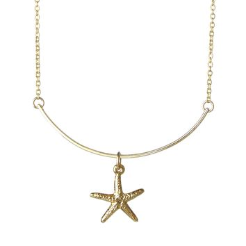 Swinging Gold Starfish Medium Length Layering Necklace