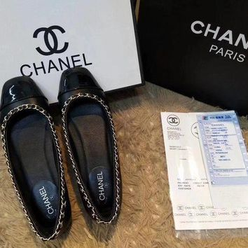 Chanel Square Stitching Flat Shoes