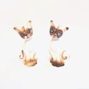 Vintage Salt and Pepper Shakers, Porcelain Siamese Cats