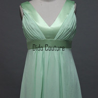 V-neck Spring Color Chiffon  Full Length Bridesmaid Dress Simple Prom Dress