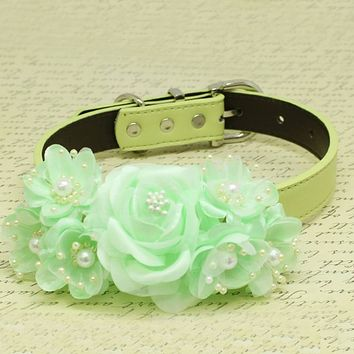 Mint Green Floral Wedding Dog Collar, Rose Flowers with Pearls, Wedding Dogs Accessory