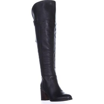 Franco Sarto Ollie Wide Calf Over-The-Knee Boots, Black Leather, 8 US / 38 EU