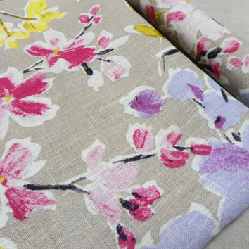 Floral Natural linen tablecloth. Vibrant floral print linen tablecloth 54 x 92. Linen tablecloth. Table linens
