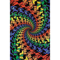 Sunshine Joy Grateful Dead 3D Dancing Bears Spiral Tapestry Tablecloth Wall Art Beach Sheet Huge 60x90 Inches - Amazing 3D Effects