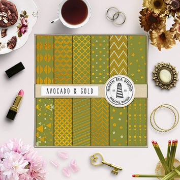 Gold Foil Digital Paper Avocado Paper Gold Backdrop Textured Backgrounds Shiny Foil Patterns Avocado Chevron Stripes Polkadots 12X12