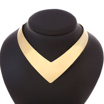 New Fashion Gold Color Open V Torques Collares Necklace For Women Fine Jewelry Condition 3545