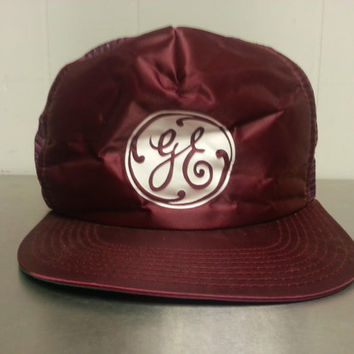 Vintage GE General Electric Trucker Mesh Hat Burgundy Red Snap Back Cap Made In USA Dad Hat