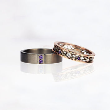 amethyst wedding ring set, rose gold, diamond ring, men's titanium wedding band, filigree wedding ring, matching rings, purple, men amethyst