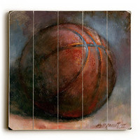 Basketball by Artist Hall Groat II Wood Sign