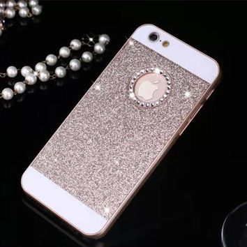 SPARKLES! Rhinestone Case Bling Logo Window Luxury Cover for iPhone X 8 4 4s 5 5s 6 6s 7 8 Plus case Shinning back cover cases
