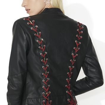 Bat Outta Hell Lace-Up Moto Jacket