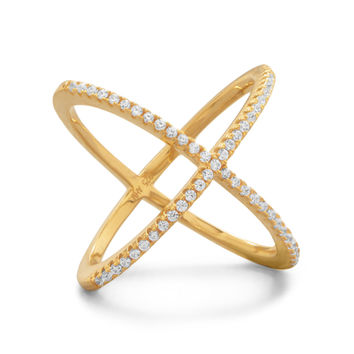 Gold Plated Criss Cross Ring with Cubic Zirconia