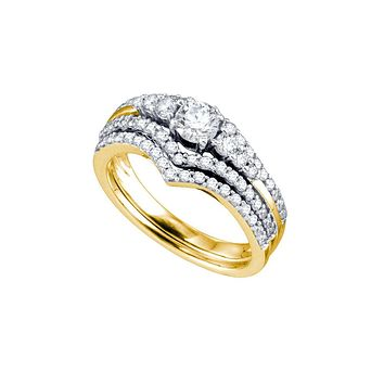 14kt Yellow Gold Womens Round Diamond Chevron Bridal Wedding Engagement Ring Band Set 1.00 Cttw