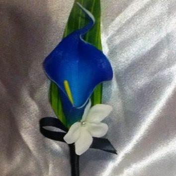 Real Touch Royal Blue Calla Lily Boutonniere, Royal Blue Boutonniere, Horizon Blue Boutonniere, Bout Groom Groomsmen Wedding Flower