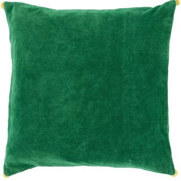 Velvet Poms Throw Pillow Green, Yellow