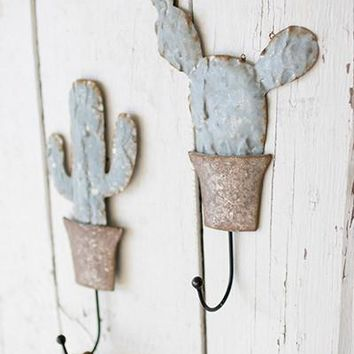 Set of 2 Metal Potted Cactus Wall Hooks