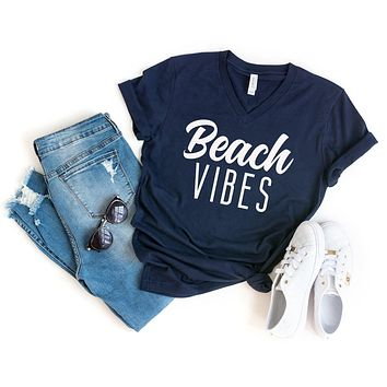 Beach Vibes | V-Neck Graphic Tee