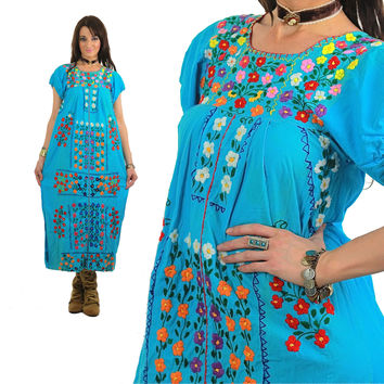 Mexican Embroidered Dress Maxi Oaxacan Boho Cotton Tunic 70s Hippie Floral Ethnic Blue 1970s Bohemian Vintage Embroidery Blue Medium