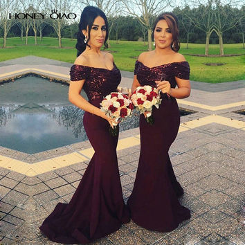 Honey Qiao Burgundy Mermaid Bridesmaid Dresses 2017 Off the Shoulder Sequins Zipper Hunter Green Prom Party Gowns Robe De Soiree