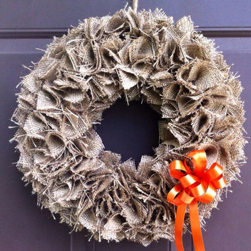 Burlap Wreath for Front Door Fall Decor Hanging Autumn Decoration
