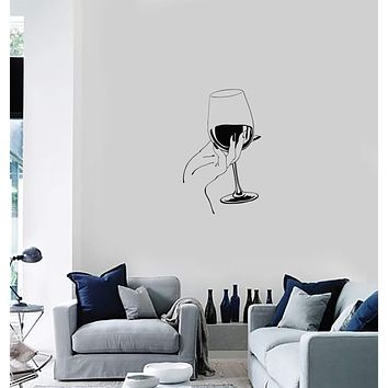 Vinyl Decal Wall Sticker Decor for Bar Wine Glass Hand Kitchen Decoration Unique Gift (g115)