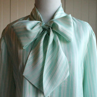 Vintage 70s Mint Striped Secretary Blouse// Pussy Bow Ascot Bouse// Mint Office Blouse