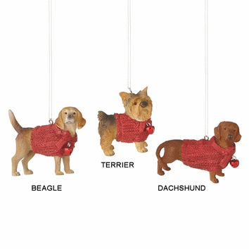 Lap Dog in Red Sweater Holiday Christmas Ornament