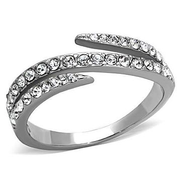 WildKlass Stainless Steel Pave Ring High Polished (no Plating) Women Top Grade Crystal Clear