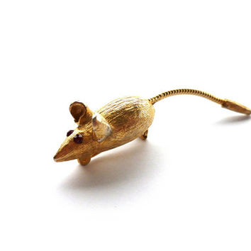Gold tone Mouse Brooch Mouse Pin