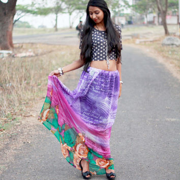 Circle HIPPIE SKIRT - BOHO floral skirt - Maxi skirt, skirts for women, maxi long skirt, summer skirt, aline pencil skirt, womens skirt