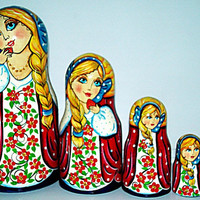 Strawberry Beauty traditional Russian nesting doll toy painted curved made by hand decorative collectible toy holiday birthday gift wood