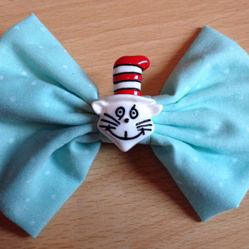 Dr Seuss Hairbow - The Cat in the Hat, Hair bow, Cute, Fairy Kei, Kitsch, Kawaii, Polka Dot, Mint Pastel Green, Spots, Spotted, Spotty, Emo
