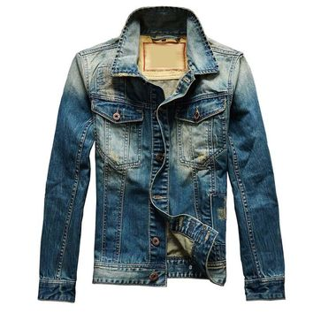 Vintage Big Size S-5XL Men Fashion Denim Jacket Casual Retro Ripped Cowboy Jacket Male Coats Windbreaker Brand Clothing